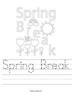Spring Break Handwriting Sheet