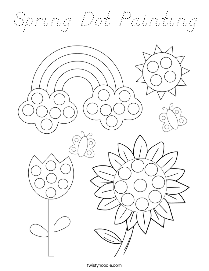Spring Dot Painting Coloring Page