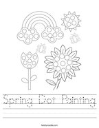 Spring Dot Painting Handwriting Sheet