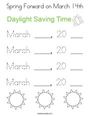 Spring Forward on March 14th Coloring Page