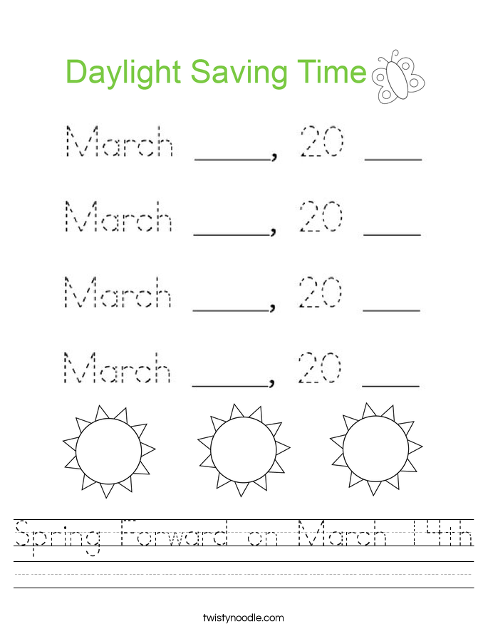 Spring Forward on March 14th Worksheet