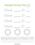 Spring Forward on March 14th Handwriting Sheet