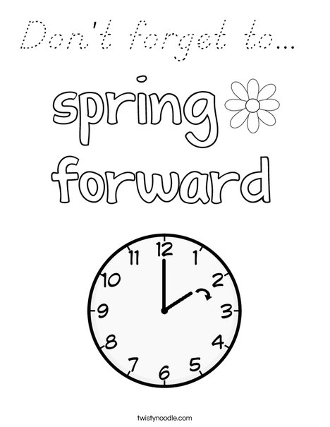 Spring Forward Coloring Page