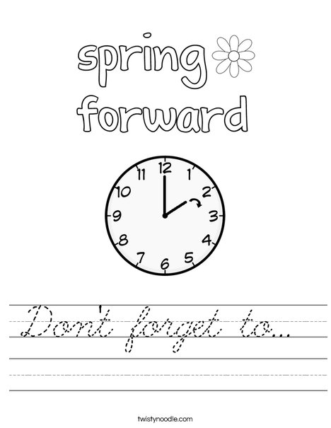 Spring Forward Worksheet