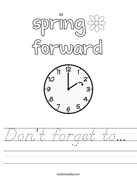 Spring Forward Worksheet