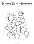 Bees like flowers Coloring Page
