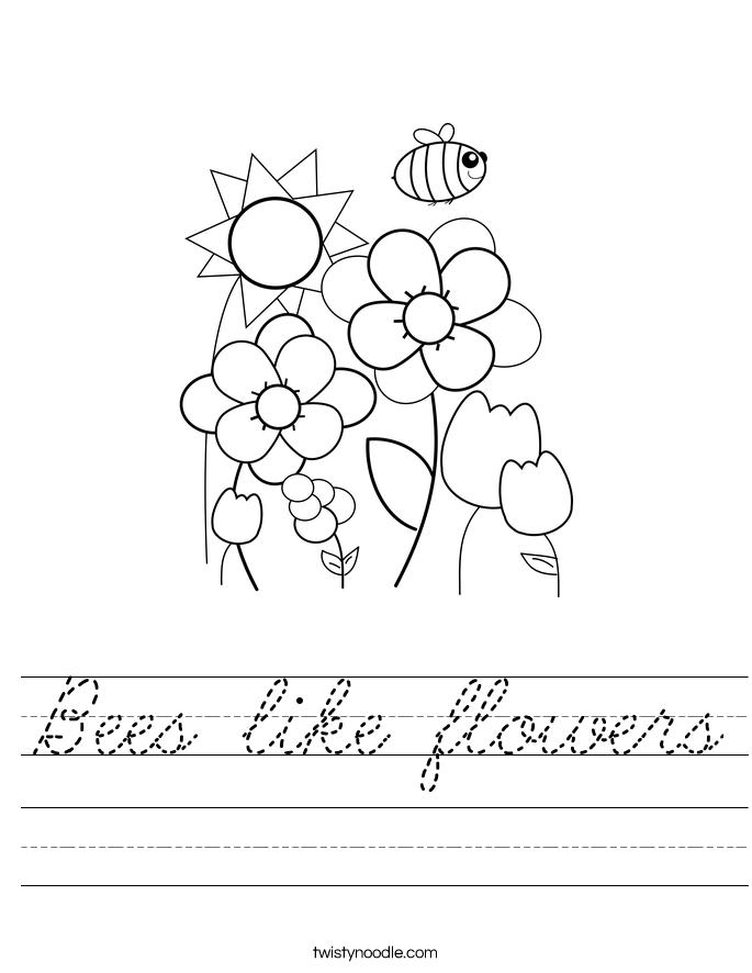 Bees like flowers Worksheet