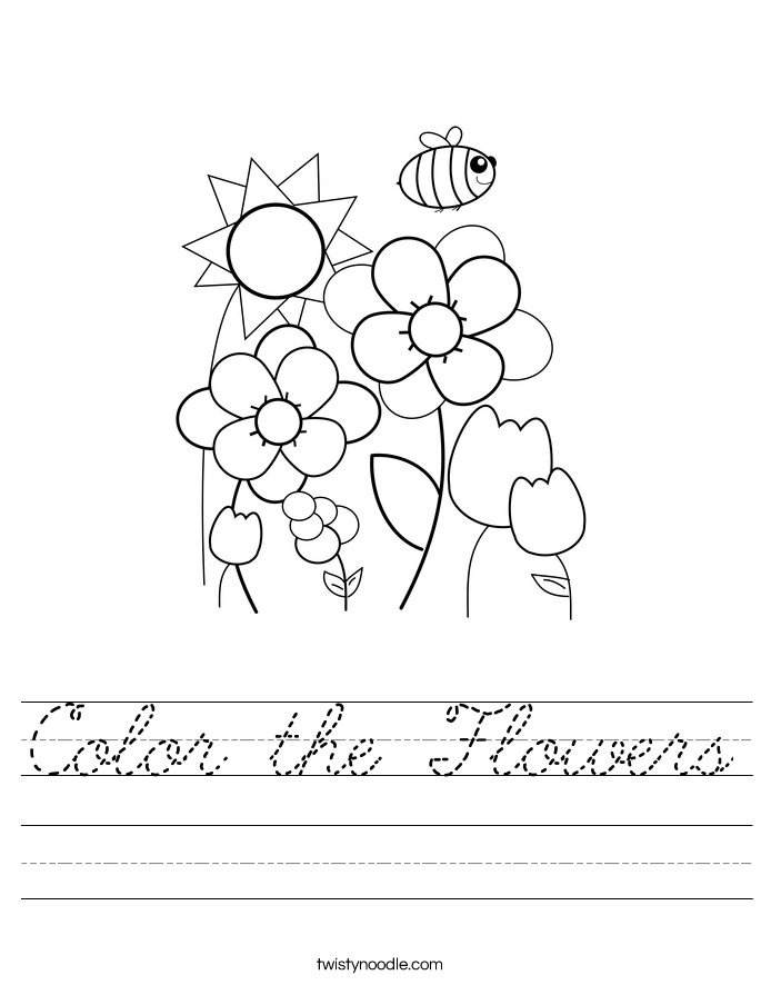Color the Flowers Worksheet