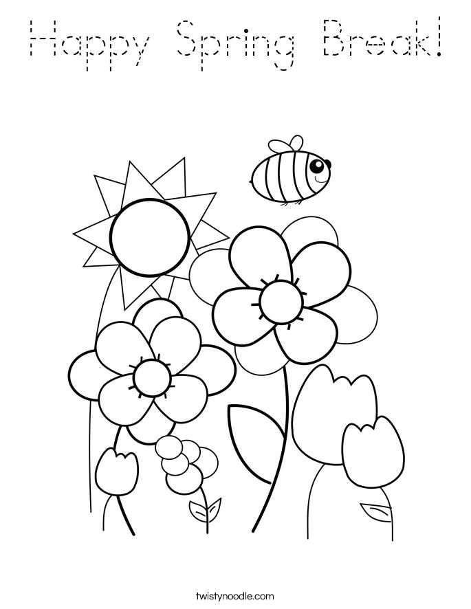 Happy spring break coloring page tracing twisty noodle for Coloring pages spring break