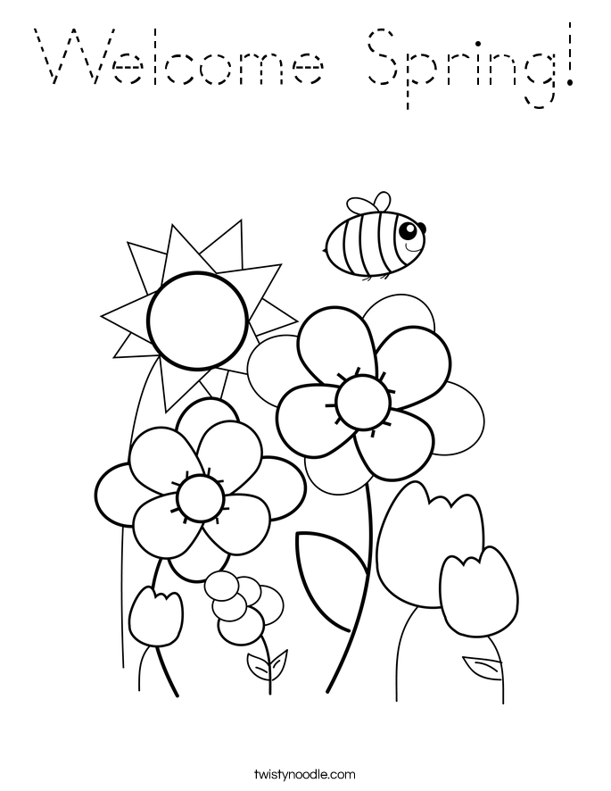 Welcome Spring Coloring Page Tracing Twisty Noodle