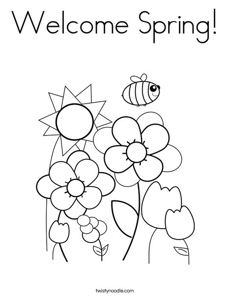 Welcome Spring Coloring Page Twisty Noodle