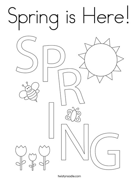Spring is Here! Coloring Page