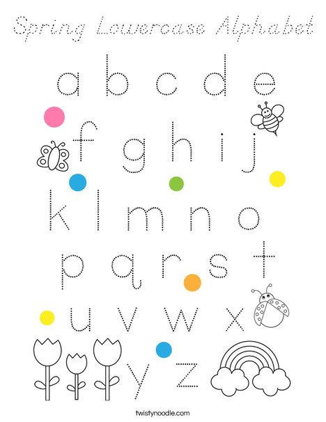 Spring Lowercase Alphabet Coloring Page