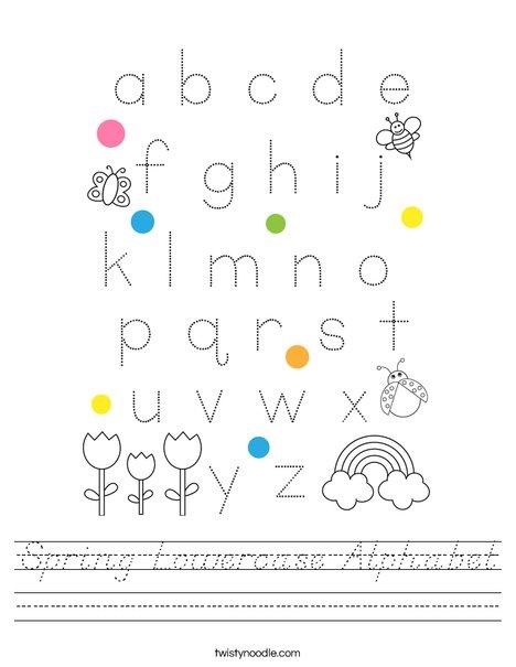 Spring Lowercase Alphabet Worksheet