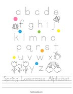 Spring Lowercase Alphabet Handwriting Sheet