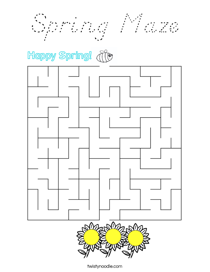 Spring Maze Coloring Page