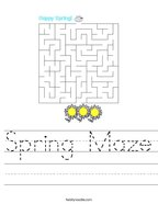 Spring Maze Handwriting Sheet