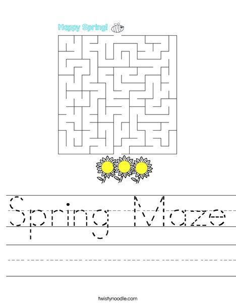 Spring Maze Worksheet
