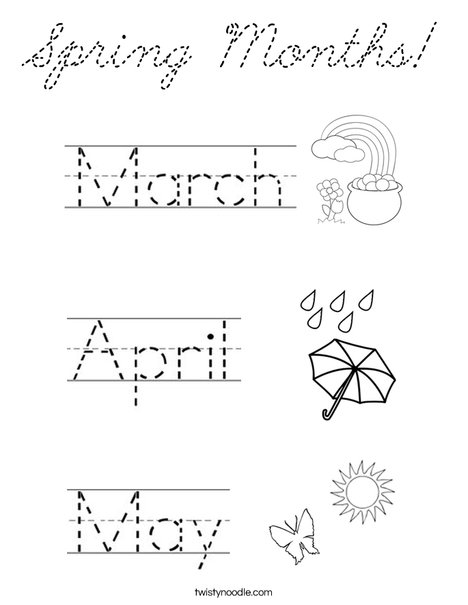 Spring Months! Coloring Page