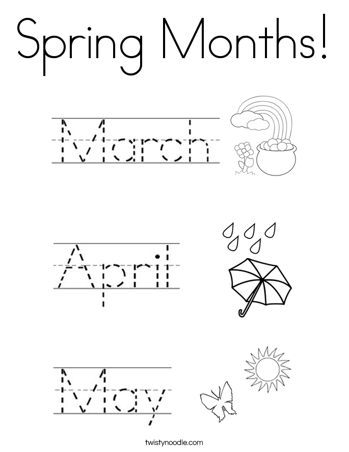 Spring Months Coloring Page - Twisty Noodle