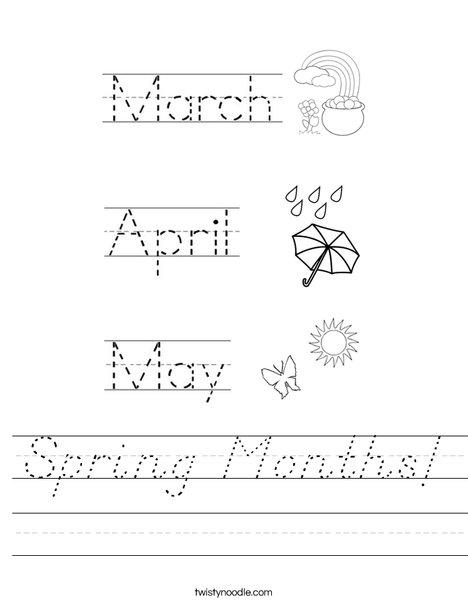 Spring Months! Worksheet