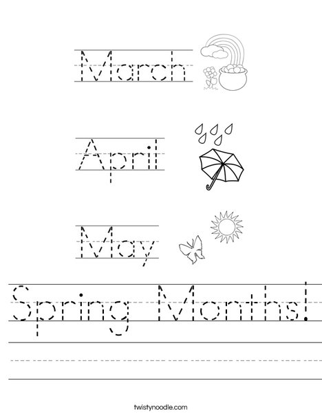 Spring Months! Worksheet