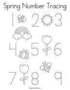 Spring Number Tracing Coloring Page