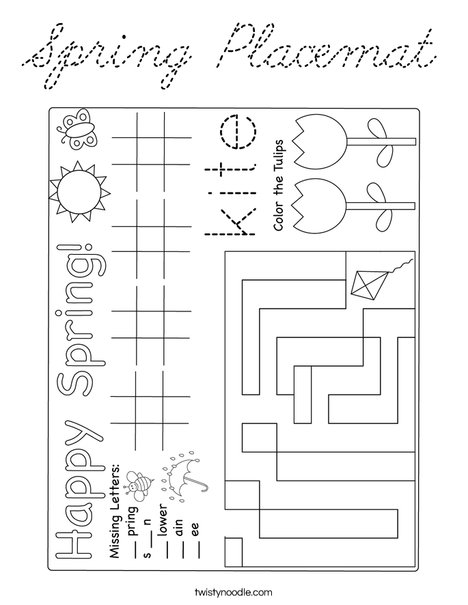 Spring Placemat Coloring Page