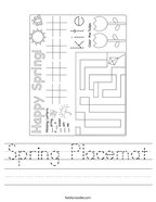Spring Placemat Handwriting Sheet