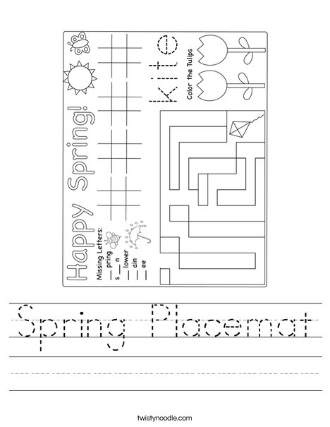 Spring Placemat Worksheet