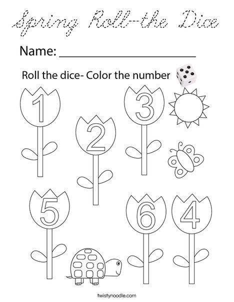 Spring Roll-the-Dice Coloring Page