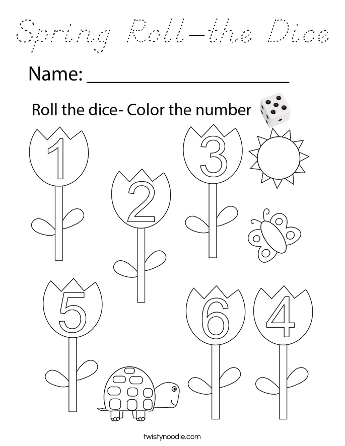 Spring Roll-the Dice Coloring Page