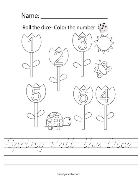 Spring Roll-the-Dice Worksheet