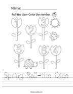 Spring Roll-the Dice Handwriting Sheet