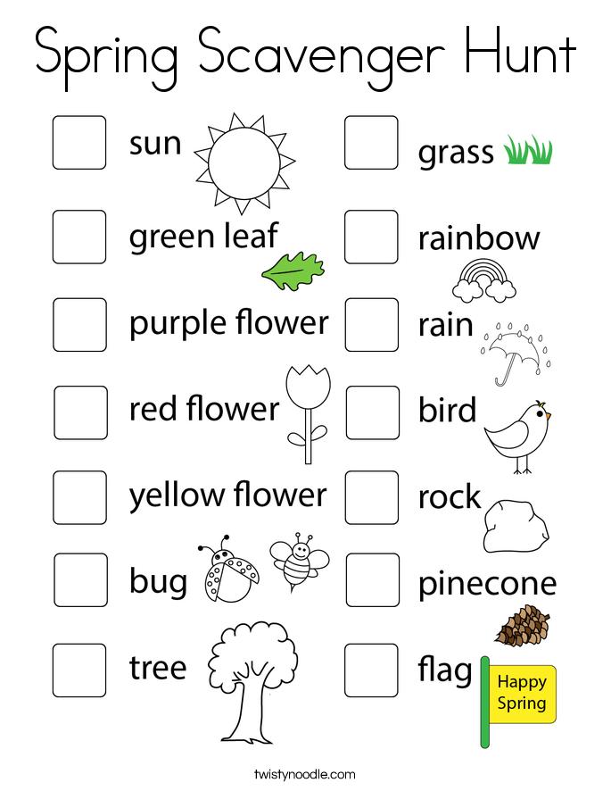 Spring Scavenger Hunt Coloring Page