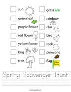 Spring Scavenger Hunt Handwriting Sheet