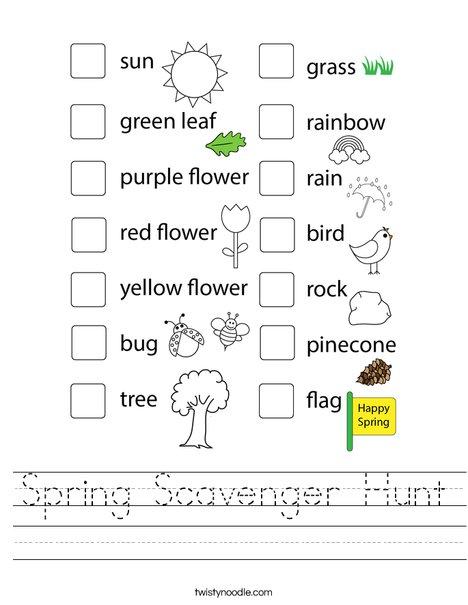 Spring Scavenger Hunt Worksheet