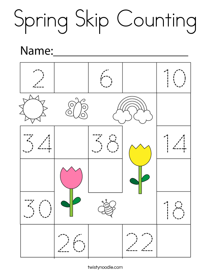 Spring Skip Counting Coloring Page