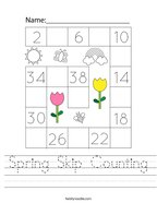 Spring Skip Counting Handwriting Sheet