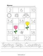 Spring Skip Counting Handwriting Sheet