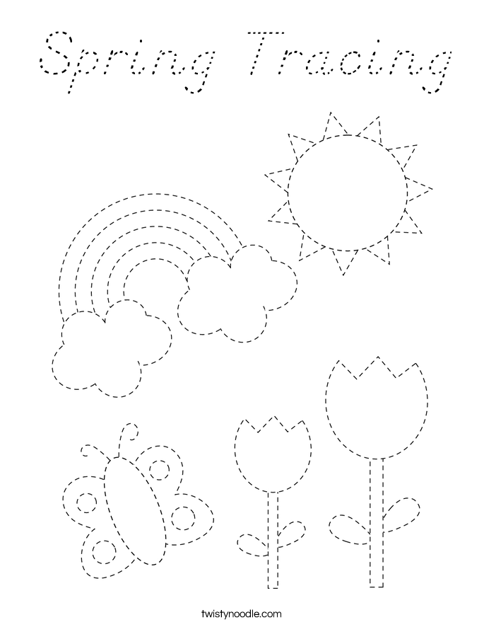 Spring Tracing Coloring Page
