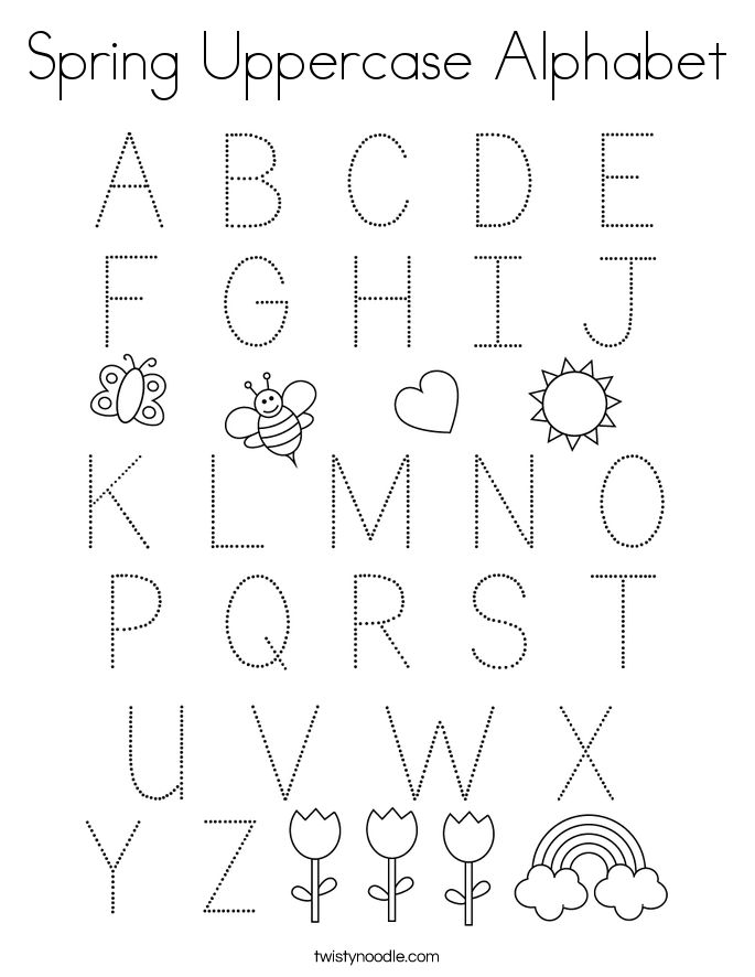 Spring Uppercase Alphabet Coloring Page