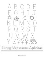 Spring Uppercase Alphabet Handwriting Sheet