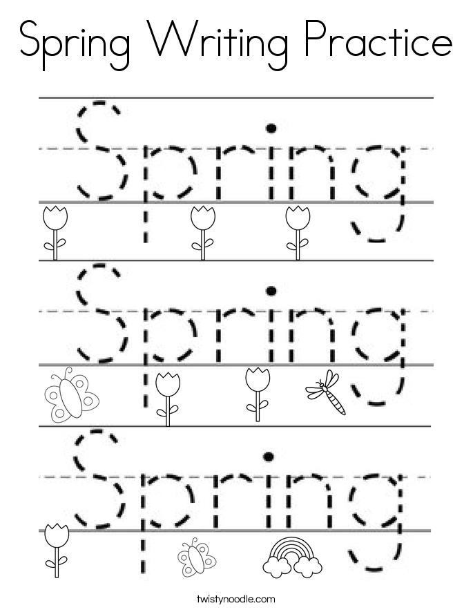 Spring Writing Practice Coloring Page