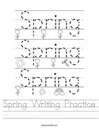 Spring Writing Practice Handwriting Sheet