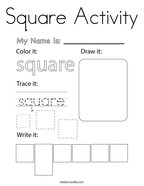 Square Activity Coloring Page