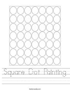 Square Dot Painting Handwriting Sheet