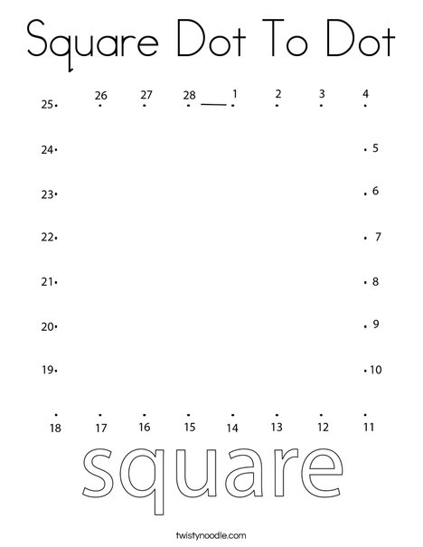 Square Dot to Dot Coloring Page