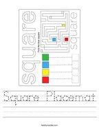 Square Placemat Handwriting Sheet