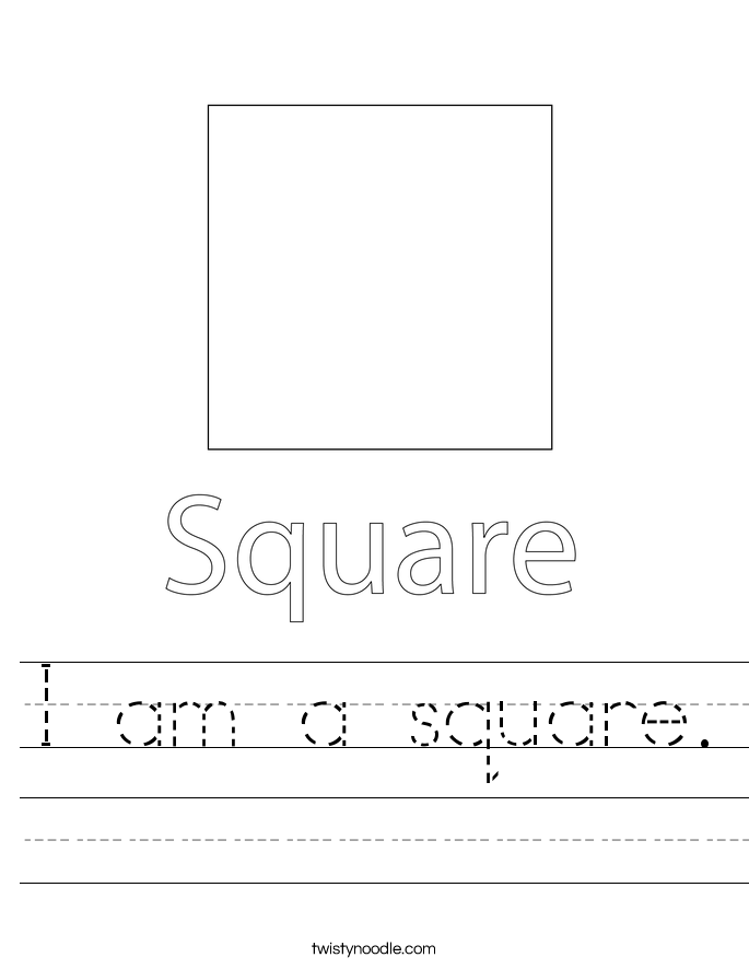 I am a square. Worksheet